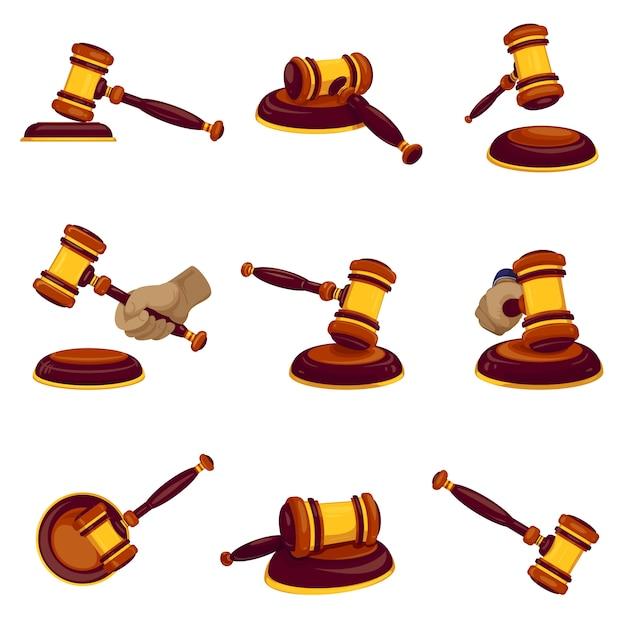 Conjunto de iconos de martillo de juez Vector Premium
