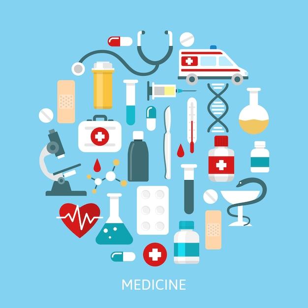 Conjunto de iconos de medicina plana redonda vector gratuito