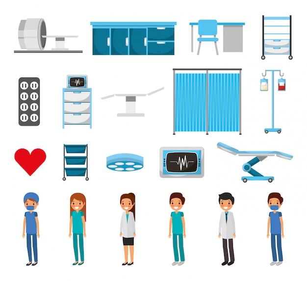 Conjunto de iconos médicos aislados vector gratuito