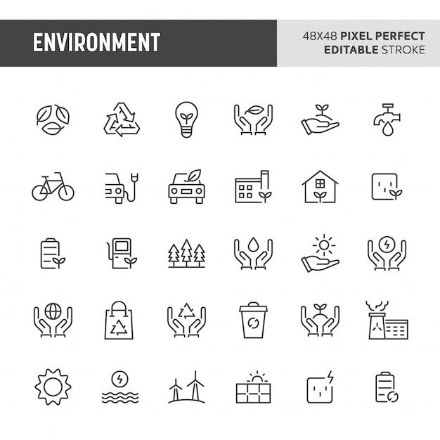 Conjunto de iconos de medio ambiente Vector Premium