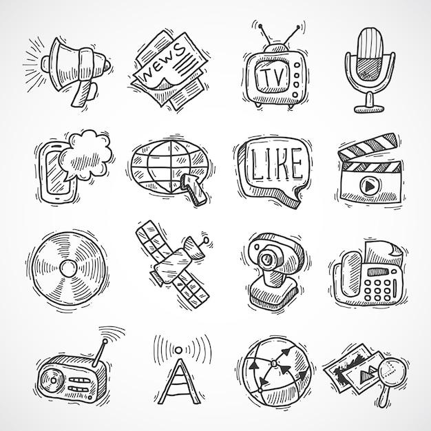 Conjunto de iconos de medios Vector Premium