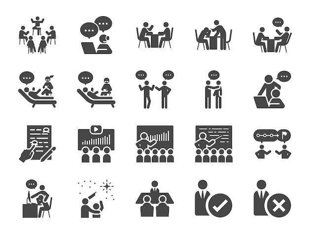 Conjunto de iconos de mentor. Vector Premium