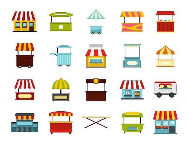 Conjunto de iconos de mercado de la calle. conjunto plano de la colección de iconos de vector de mercado callejero aislado Vector Premium