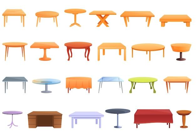 Conjunto de iconos de mesa. conjunto de dibujos animados de iconos de mesa para web Vector Premium