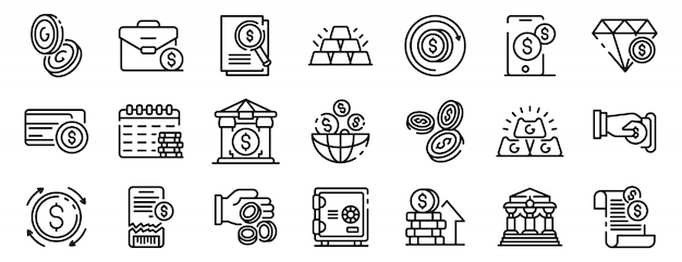 Conjunto de iconos de metales del banco, estilo de contorno Vector Premium