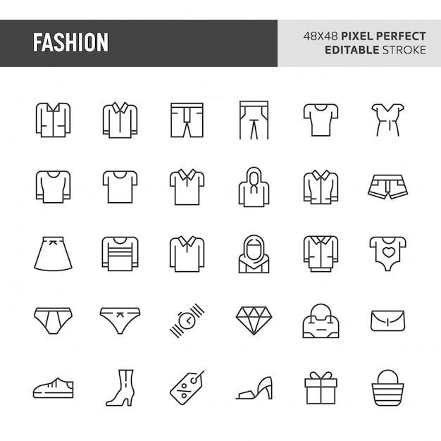 Conjunto de iconos de moda Vector Premium