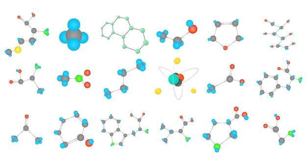 Conjunto de iconos de la molécula Vector Premium