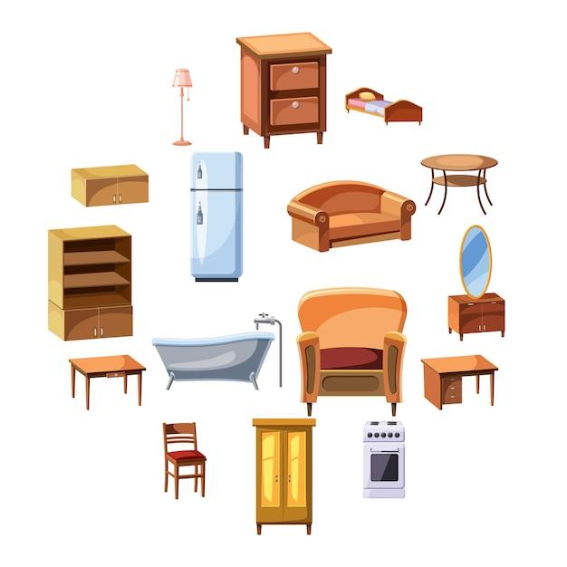 Conjunto de iconos de muebles y electrodomésticos Vector Premium
