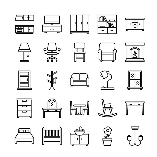 Conjunto de iconos de muebles Vector Premium