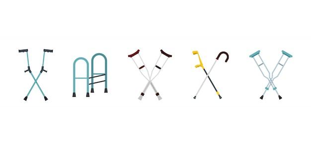 Conjunto de iconos de muletas. conjunto plano de la colección de iconos de vector de muletas aislado Vector Premium