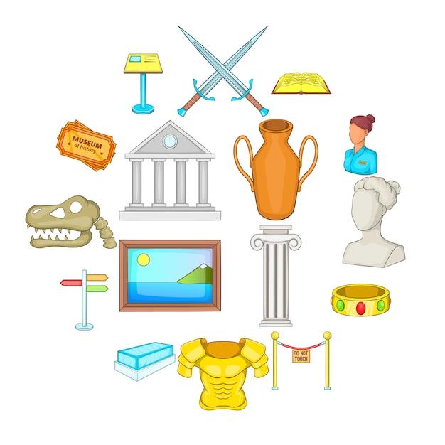 Conjunto de iconos de museo, estilo de dibujos animados Vector Premium