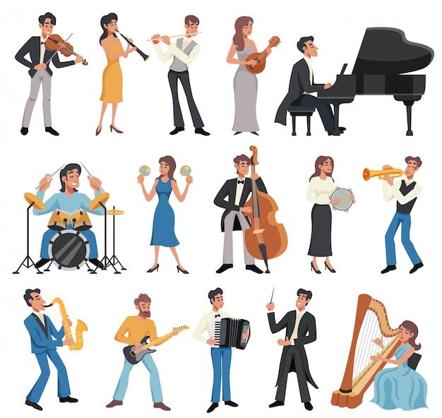 Conjunto de iconos de músico vector gratuito