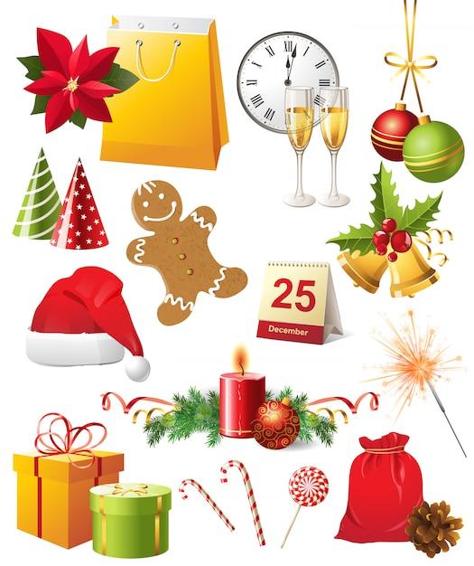 Conjunto de iconos de navidad Vector Premium