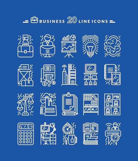 Conjunto de iconos de negocios blanco Vector Premium