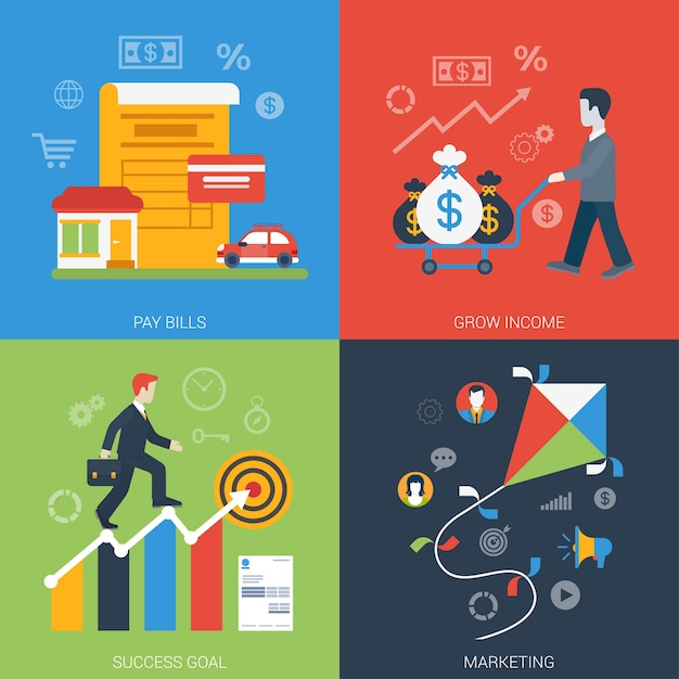 Conjunto de iconos de negocios en línea moderno de banner web de estilo plano vector gratuito