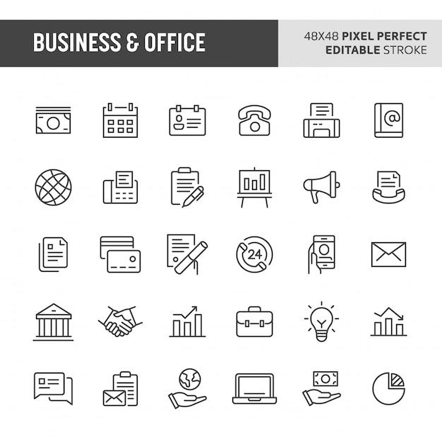 Conjunto de iconos de negocios y oficinas Vector Premium