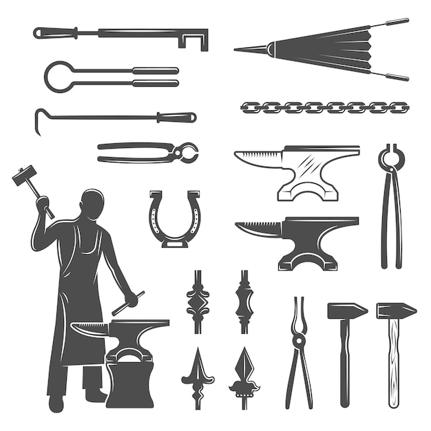 Conjunto de iconos negros de herrero vector gratuito