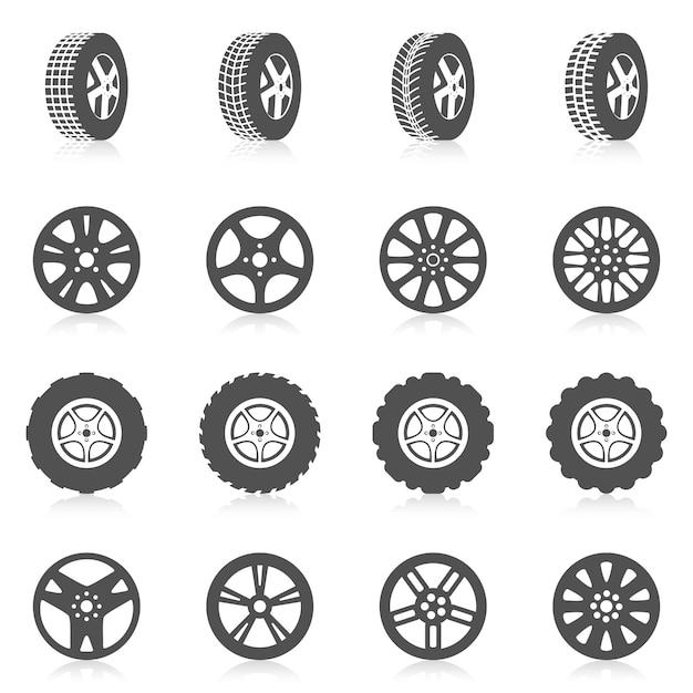 Conjunto de iconos de neumáticos Vector Premium