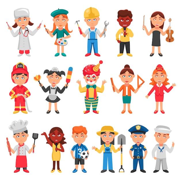 Conjunto de iconos de niños y profesiones vector gratuito