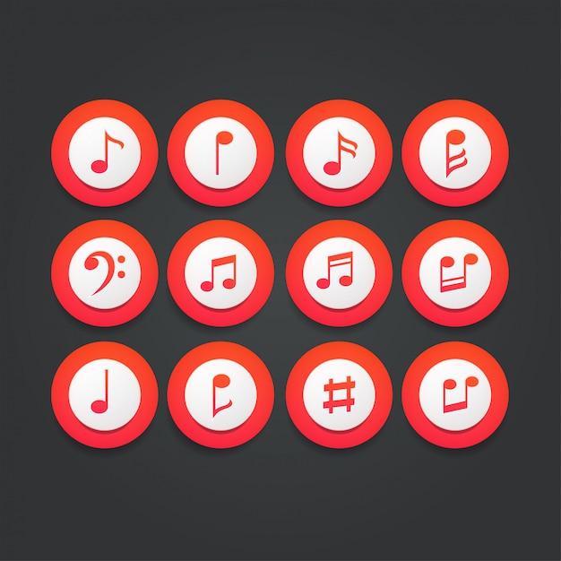 Conjunto de iconos notas musicales Vector Premium