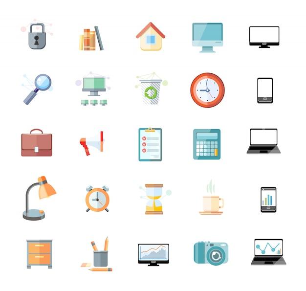 Conjunto de iconos para oficina y gestión del tiempo con dispositivos digitales y objetos de oficina Vector Premium