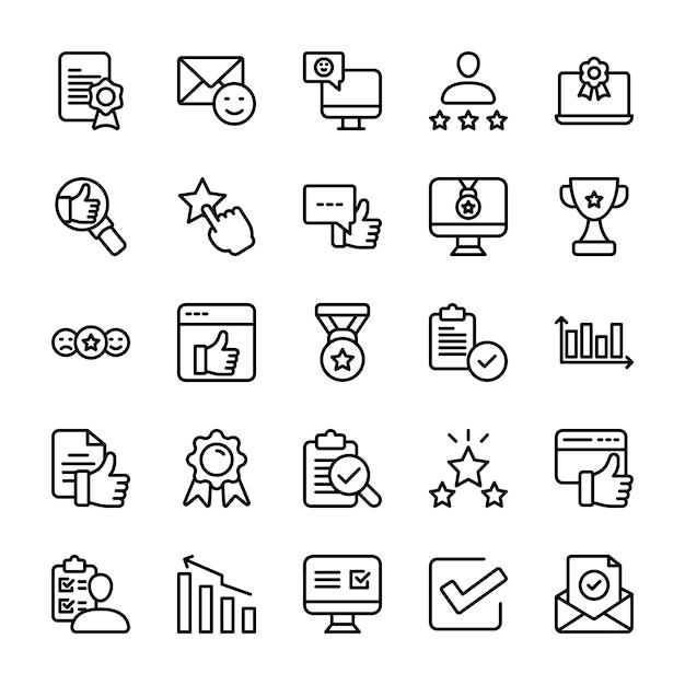 Conjunto de iconos de opinión emocional y línea de lista de verificación Vector Premium