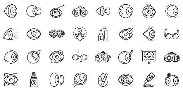 Conjunto de iconos ópticos, estilo de contorno Vector Premium