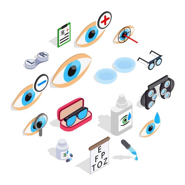 Conjunto de iconos de optometría, isométrica estilo 3d Vector Premium
