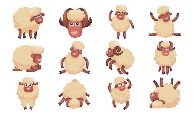 Conjunto de iconos de ovejas, estilo de dibujos animados Vector Premium