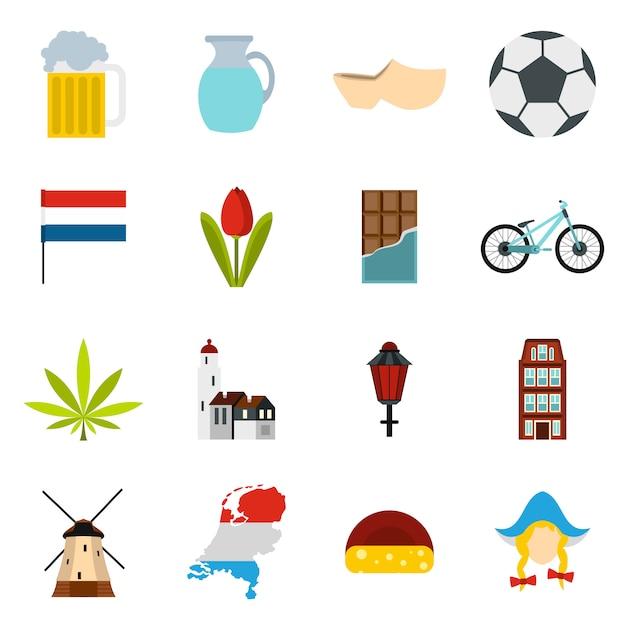 Conjunto de iconos de países bajos Vector Premium