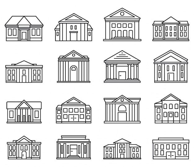 Conjunto de iconos de palacio de justicia de la ciudad Vector Premium