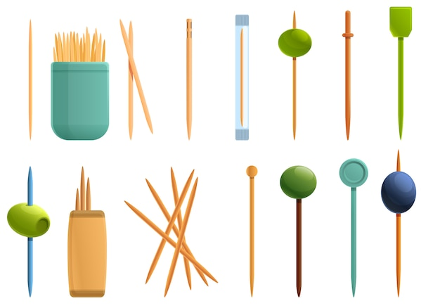 Conjunto de iconos de palillo de dientes, estilo de dibujos animados Vector Premium