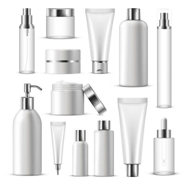 Conjunto de iconos de paquete cosmético realista vector gratuito