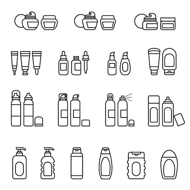Conjunto de iconos de paquete de cosméticos Vector Premium