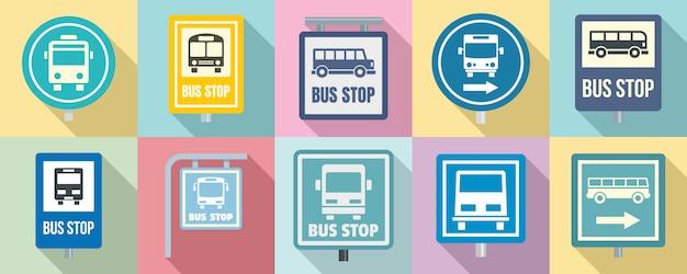 Conjunto de iconos de parada de autobús Vector Premium