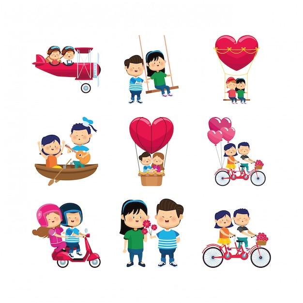 Conjunto de iconos de parejas felices de dibujos animados Vector Premium