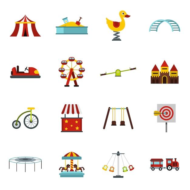Conjunto de iconos de parque de atracciones Vector Premium
