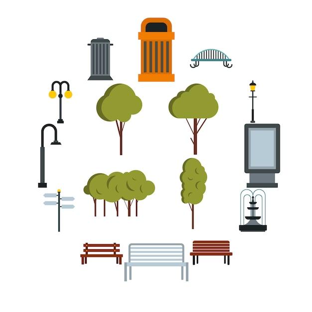 Conjunto de iconos de parque, estilo plano Vector Premium