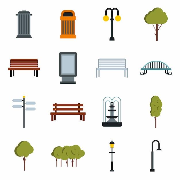 Conjunto de iconos de parque Vector Premium