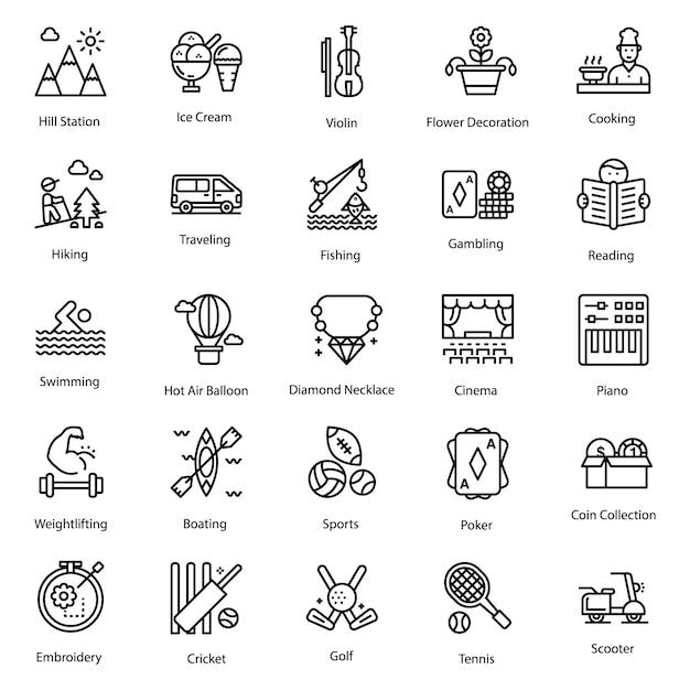 Conjunto de iconos de pasatiempos Vector Premium