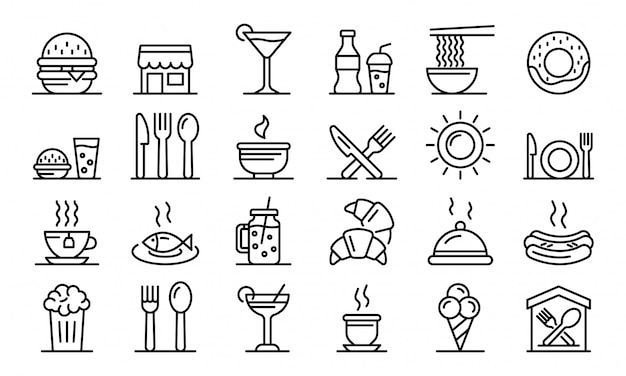 Conjunto de iconos de patios de comida, estilo de contorno Vector Premium