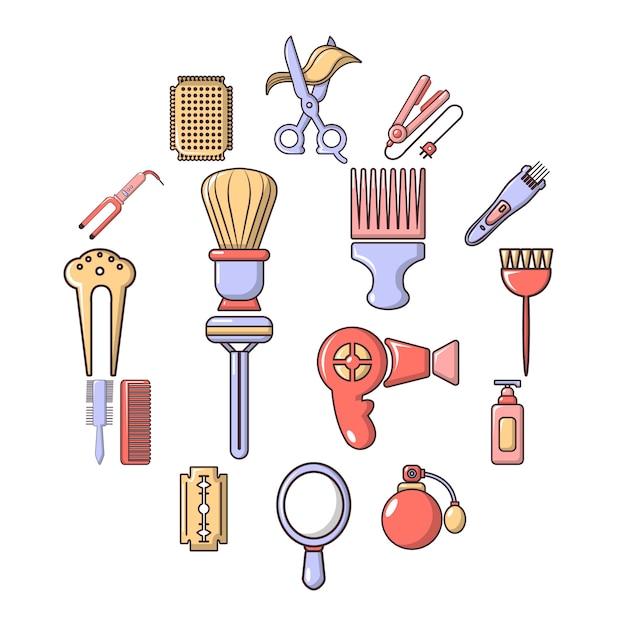 Conjunto de iconos de peluquería, estilo de dibujos animados Vector Premium