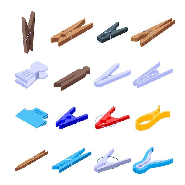 Conjunto de iconos de pernos de ropa Vector Premium
