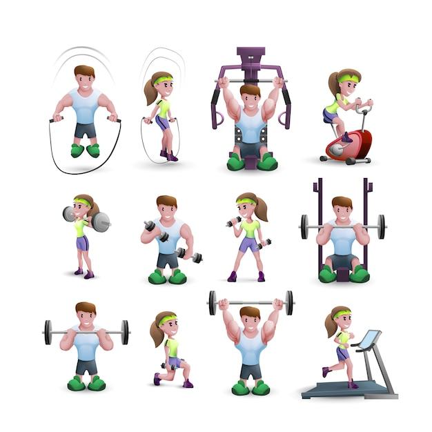 Conjunto de iconos de personajes de fitness vector gratuito