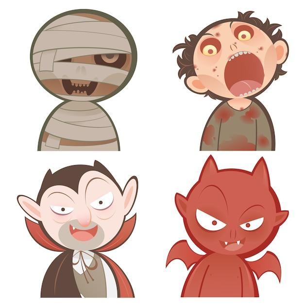 Conjunto de iconos de personajes de halloween de dibujos animados ...