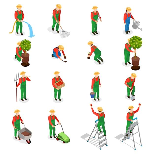 Conjunto de iconos de personajes de jardinero vector gratuito
