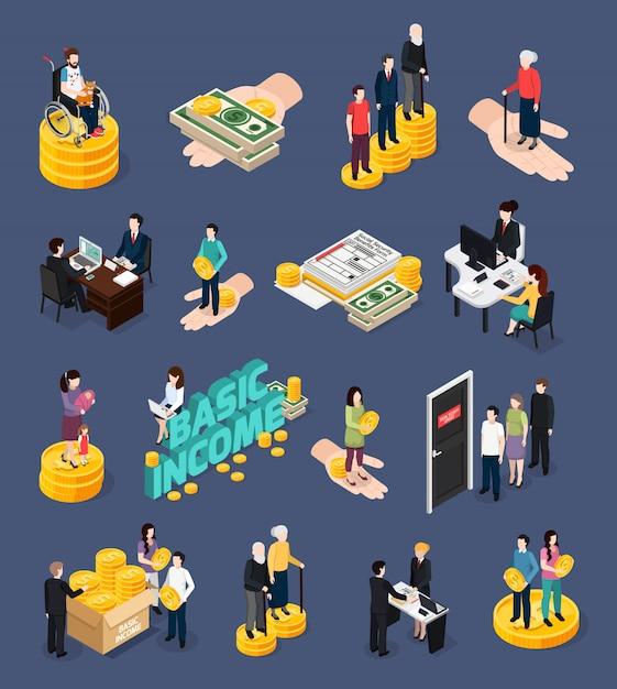 Conjunto de iconos y personajes de la seguridad social vector gratuito