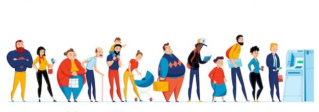 Conjunto de iconos de personas en cola con diferentes personas esperando en línea a la ilustración del cajero automático vector gratuito