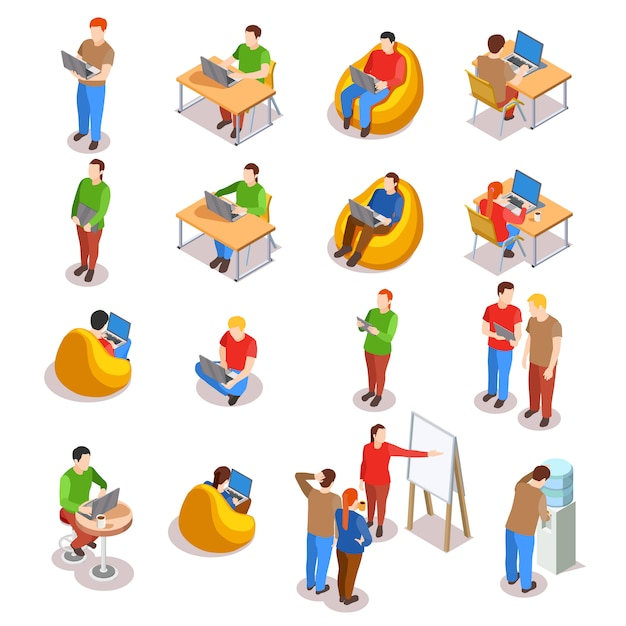 Conjunto de iconos de personas de coworking vector gratuito