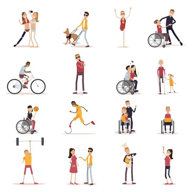 Conjunto de iconos de personas con discapacidad vector gratuito